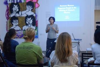 Thraphi Than, Ph.D (Assistant Professor of NIU) giving talk on Forgotten Women of Burma.